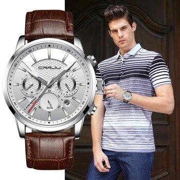 Quartz Watch CRRJU New Luxury Men Outdoor Mens Watches Sport Watches Chronograph Wristwatch Clock Leather Wrist Watch