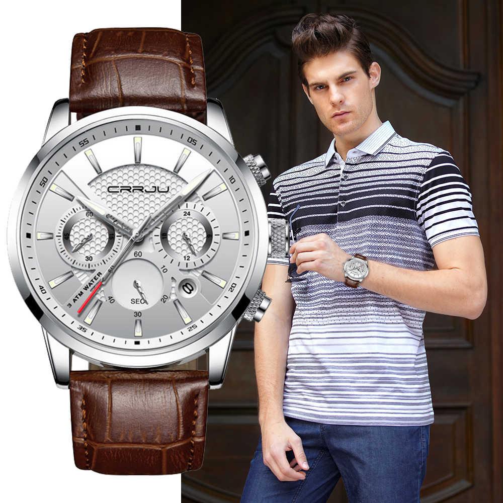 Montre à Quartz CRRJU nouveau luxe hommes en plein air hommes montres Sport montres chronographe montre-bracelet horloge en cuir montre-bracelet
