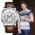 Quarzuhr CRRJU Neue Luxus Männer Outdoor Herren Uhren Sport Uhren Chronograph Armbanduhr Uhr Leder Armbanduhr-in Quarz-Uhren aus Uhren bei