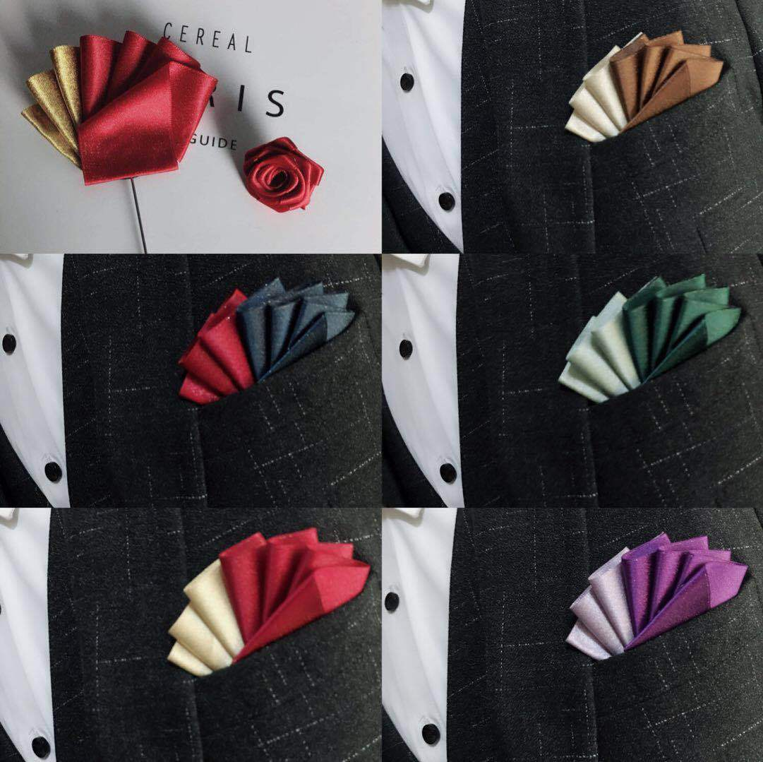 Folding Color Matching Wedding Groom Man Master Of Ceremonies Men's Suit Dress Pocket Towel Square Scarf Straight Plug Brooch