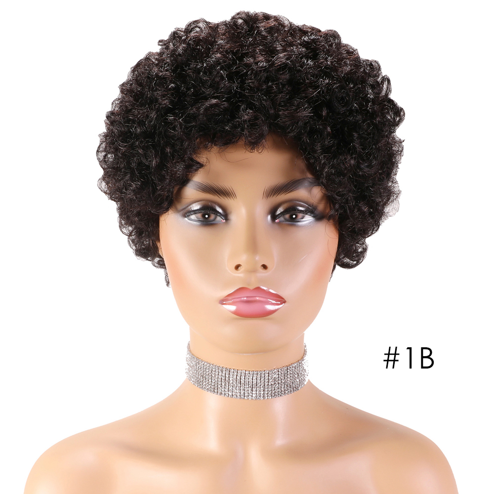 SSH Short Afro Wigs Afro Curly Wig Brazilian Remy Human Hair Wigs for Black Women Full Machine Made Cheap Wigs Black Color