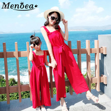 Menoea Family Matching Clothes Mother Daughter clothing Romper Women baby Girl Red Color Jumpsuit Outfits Mommy and me Clothes(China)