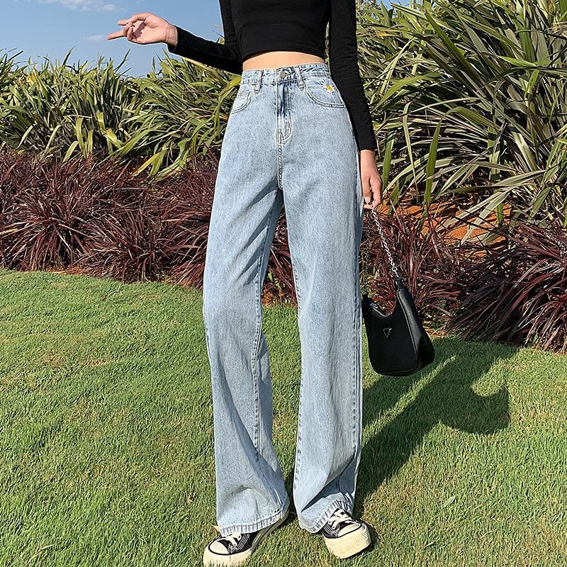 Mazefeng Jeans Women Full Length Wide Leg Denim Solid Vintage High Waist All-match Womens Trousers Korean Chic Daily Leisure