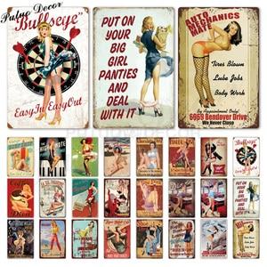 Sexy Girl Vintage Metal Sign Plaque Metal Vintage Metal Poster Pin Up Girl Tin Sign Wall Decor Bar Pub Club Man Cave Retro Signs(China)