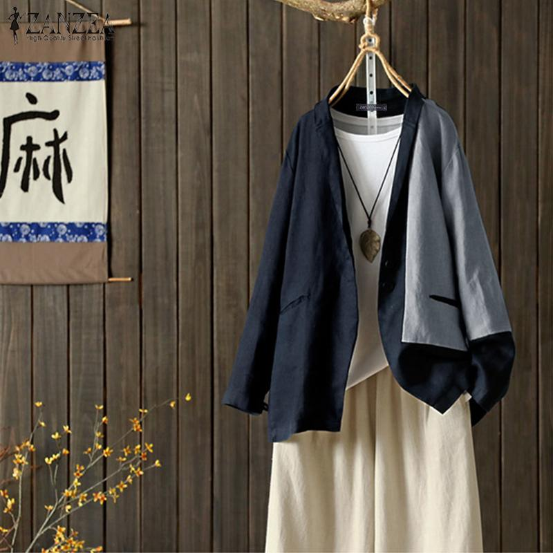 Stitching OL Coats Women's Blazers 2019 ZANZEA Elegant Casual Long Sleeve Outerwears Autumn Female Single-button Tunic Plus Size