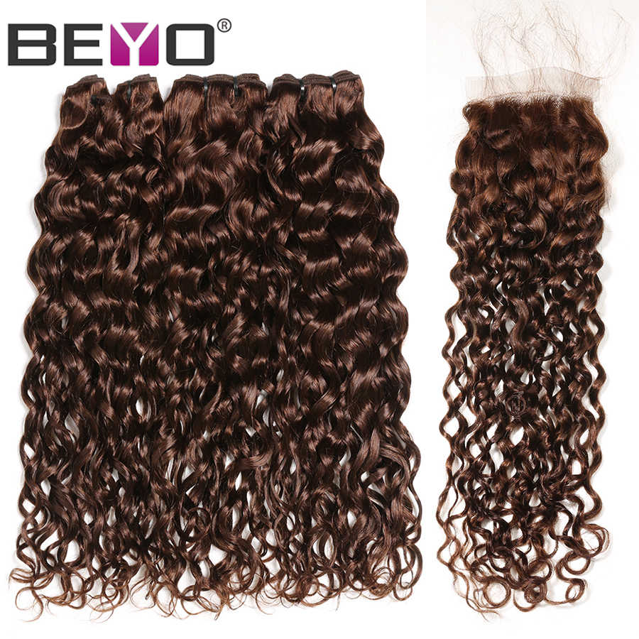 Pre-Colored #4 Water Wave Bundles With Closure Brazilian Hair Weave Bundles 100% Human Hair Bundles With Closure Beyo Non Remy