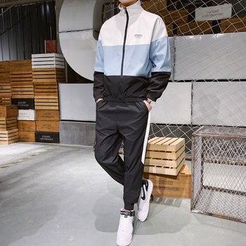 Mens Sets Jackets+Pants Autumn Sweatshirt Pant 2 Piece Streetwear Trousers Chandal Hombre Trainingspak Mannen Tracksuit Men