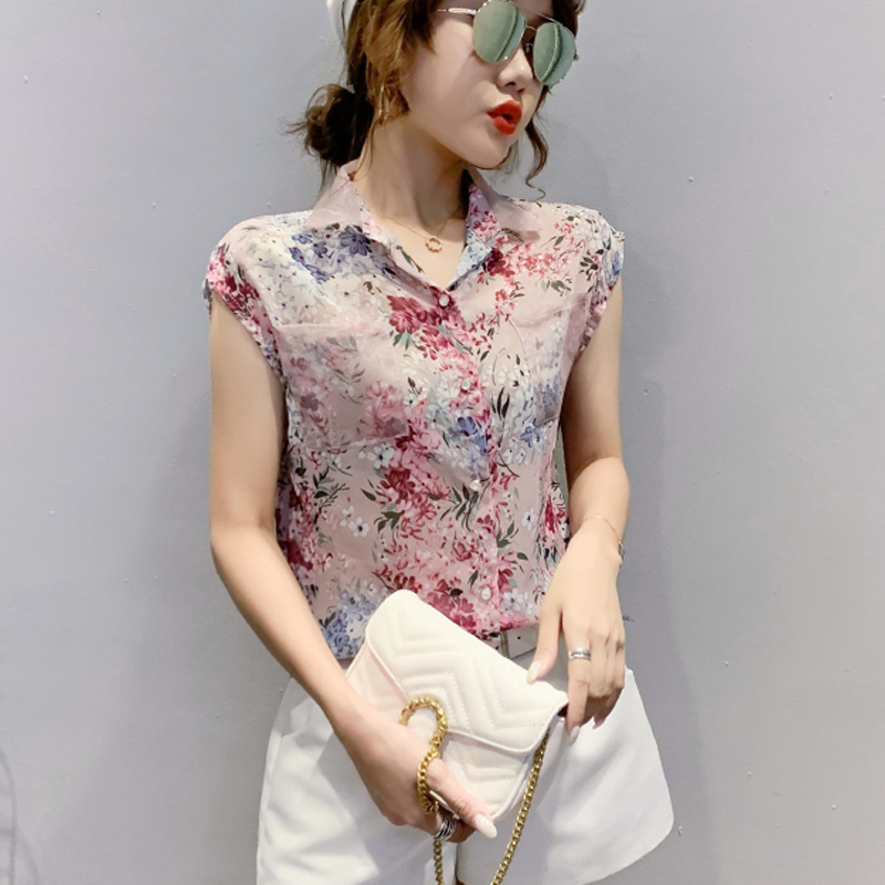 Summer Blouse Sleeveless Shirts Women Vintage Floral Print Blouses Ladies Tops 2021 Blusas Mujer Casual Chiffon shirt 10225 4