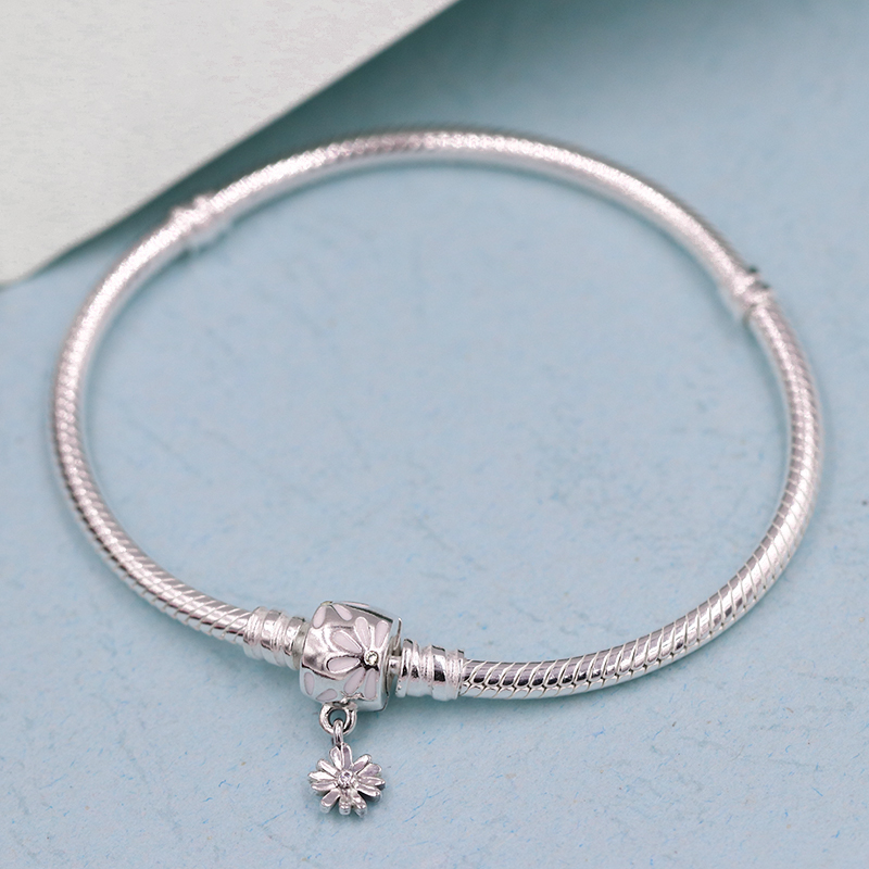 Spring Moments Snake Chain Bracelet with Daisy Flower Clasp 925 Sterling  silver Bracelets for women fit charms beads DIY Jewelry