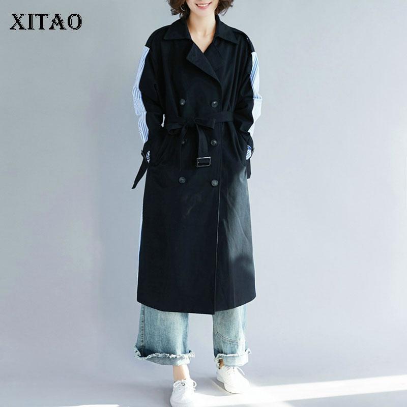 XITAO Straight Striped   Trench   Women Korea Fashion New 2019 Autumn Double Breasted Bandage Long Turn Down Collar Coat GCC1184