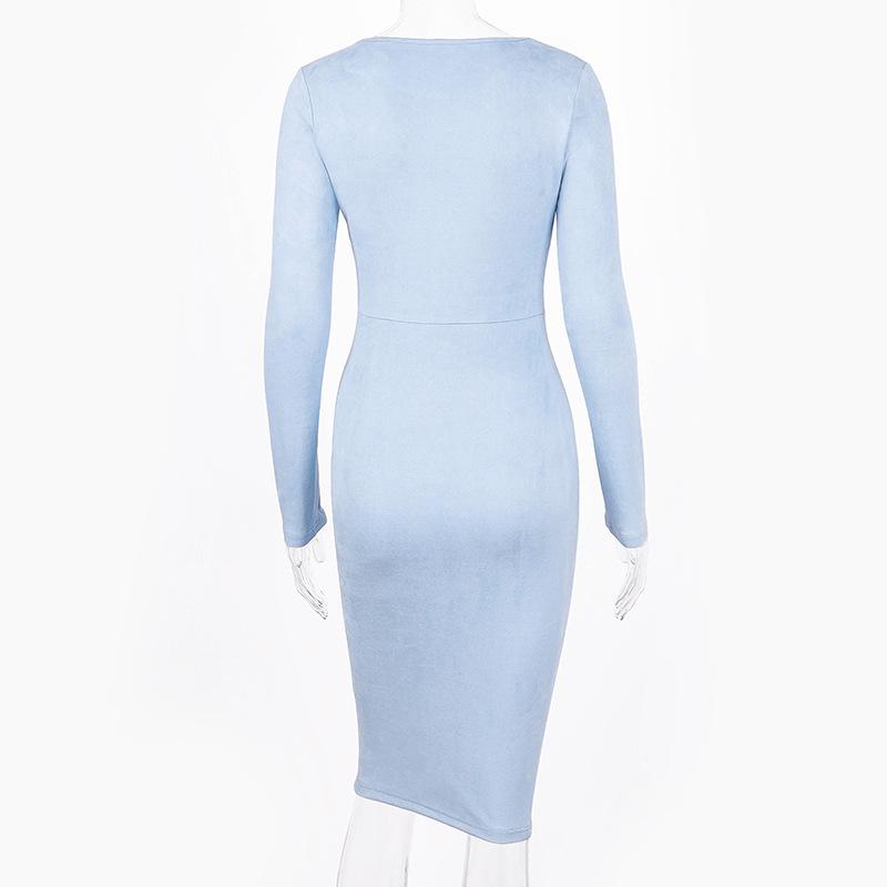 Suede Long Sleeve O-neck Pencil Bodycon Dress