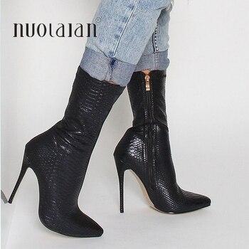 Moda de invierno botas de mujer con punta puntiaguda con estampado de serpiente botas de tobillo 10,5 CM zapatos de tacón alto Mujer otoño calcetines femeninos botas