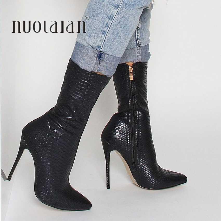 Thời Trang mùa đông Nữ Giày Mũi Nhọn Loài Rắn In Hình Mắt Cá Chân Giày 10.5CM Gót Giày Cao Gót Giày Người Phụ Nữ Mùa Thu Vớ Nữ giày