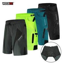 Wosawe men ciclismo gel shorts respirável secagem rápida calções de bicicleta formação ciclismo shorts com paddeds