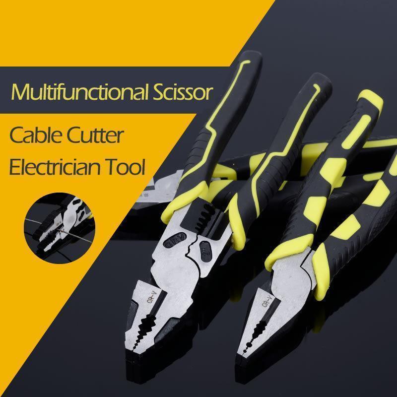 Многофункциональные плоскогубцы, ножницы, резак для кабеля, Инструмент электрика, комбинированные плоскогубцы, обжимной резак, сверхмощны...