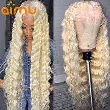 Парик с глубокими вьющимися прозрачными волосами 13x6 HD, парик без повреждений с предварительно выщипанными волосами 613 блонд, T часть 26, 28, 30 д...