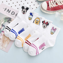 Calcetines tobilleros de algodón con estampado de Mickey Mouse para mujer y niña, calcetín moderno de estilo Anime, Pato Donald, para otoño, 5 pares