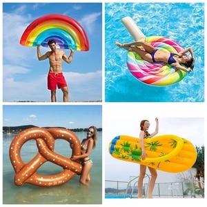 Image 2 - מזרן מתנפח בריכת שחייה לצוף מזרן ענק בריכת טרקלין מסיבת צעצועים למבוגרים קיץ חוף שחייה טבעת חיים מצוף רפסודה