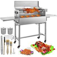 BBQ Grill 25W Heavy Duty Charcoal Barbeque Grill 4 RPM Equipado com Tampa Removível e Medidor de Temperatura Portátil para camping