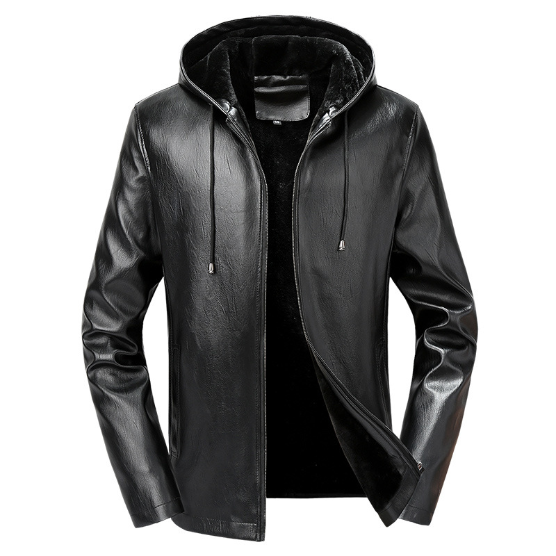 Mens Leather Jacket Men's Winter Fleece Lined Warm Hooded PU Leather Jacket Coat Men Casual Thicken Motorcycle Outerwear Male