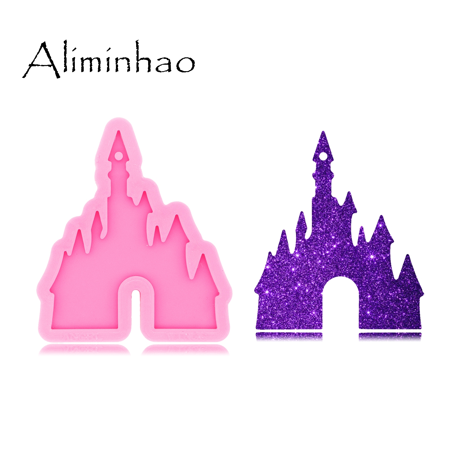 DY0479 Shiny Glossy Castle Mould Silicone For Epoxy Resin Jewellery Making Keychain Mold