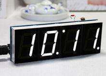 לבן LED אלקטרוני שעון דיגיטלי מיקרו שעון זמן מדחום DIY ערכת עם PDF הדרכה