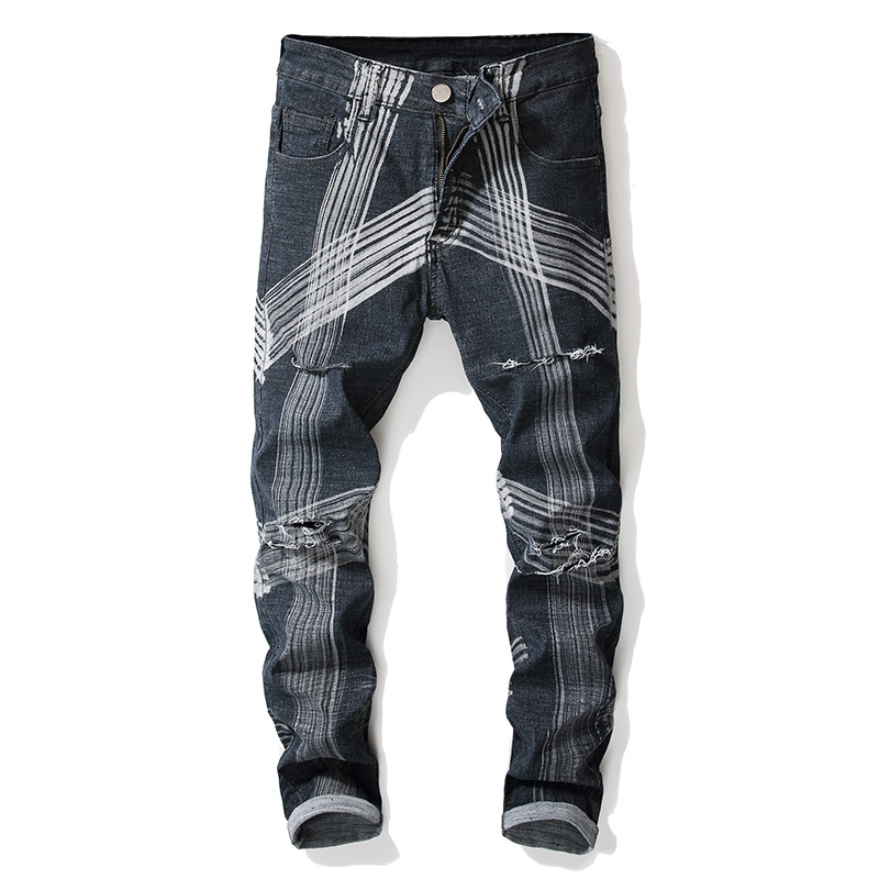 SHABIQI 2020 New High Quality Jeans Men Black White Lines Stretch Printed Elasticity Hole Jeans Straight Men Pants Size 28-42