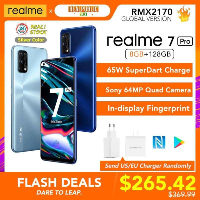 Realme 7 Pro глобальная Версия 8 Гб Оперативная память 128 Гб Встроенная память 65 Вт SuperDart заряда 64-мегапиксельная четырехъядерная камера активно-м...