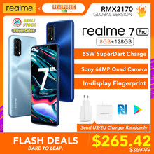 Realme 7 Pro Globale Version 8GB RAM 128GB ROM 65W SuperDart Ladung 64MP Quad Kamera AMOLED In-display Fingerprint