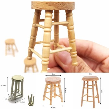 1/12 Dollhouse Miniature Accessories Mini Wooden Stool Simulation Chair Furniture Model Toy for Doll House Decoration image