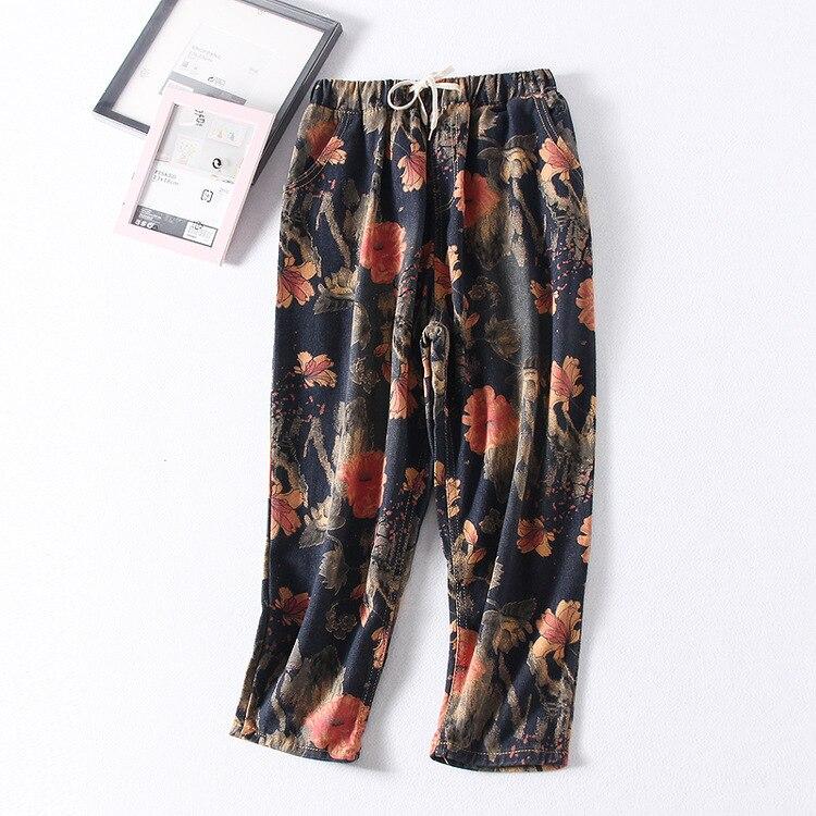 Vintage Printed Elastic Waist Jeans Female Autumn Straight-Cut Loose Harem Pants Casual WOMEN'S Pants Trousers S8133