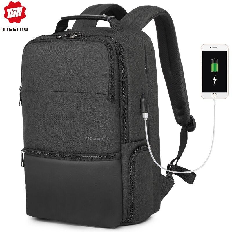 Tigernu nouveau homme sac à dos étanche Anti Theif sac à dos USB recharge multi-couche espace mâle sac RFID doublure voyage sac à dos
