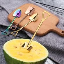 10PCS Stainless Steel Coffee Spoon Watermelon Shovel Dessert Spoon ice cream spoon Teaspoon Stirring Spoon Christmas Gifts