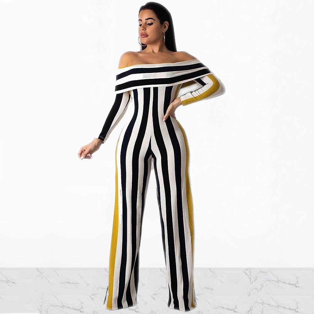 Women Striped Off Shoulder Butterfly Sleeve Slash Neck Straight Jumpsuit Party Night Clubwear Plus Size Bodycon Rompers Playsuit