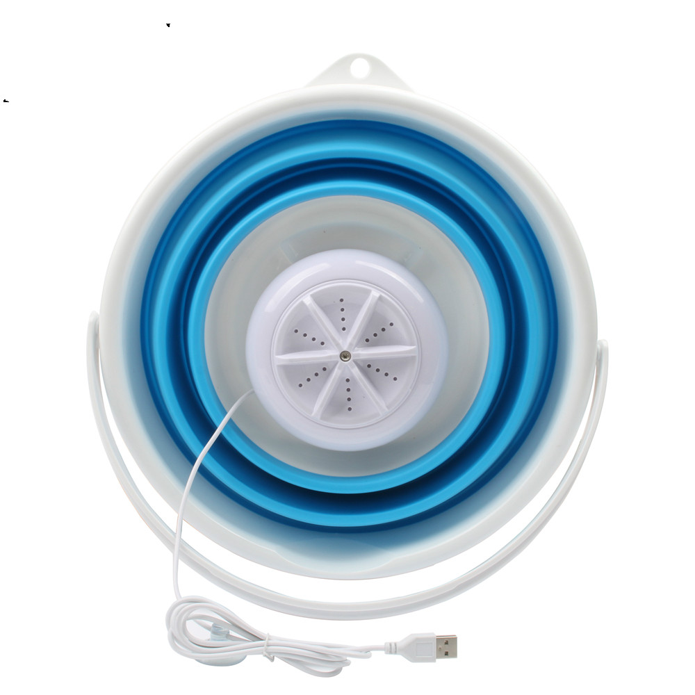 Mini Portable Automatic Washing Machine Single Barrel Ultrasonic Cleaner Foldable Bucket USB Laundry Clothes Washer