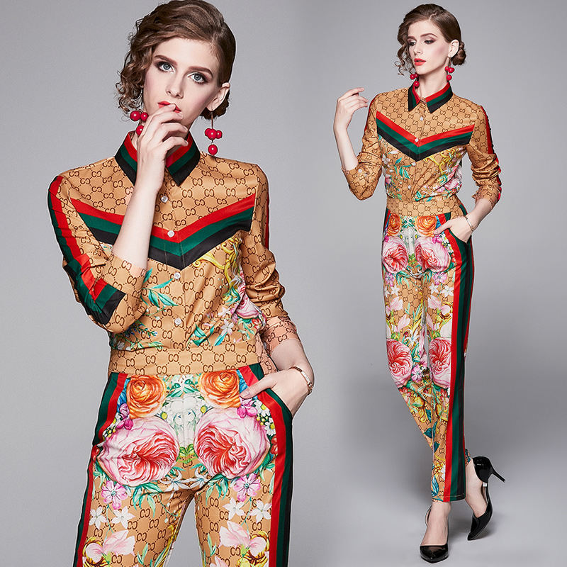 Make spot the European and American fashion joker printed orientation of cultivate one's morality printed suit pants suit on AliExpress