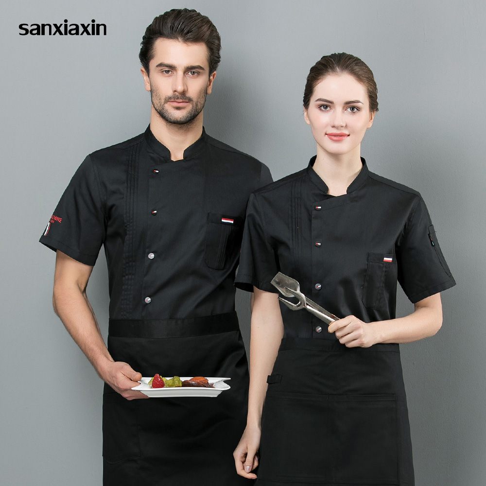 Unisex Kitchen Chef Uniform Bakery Food Service Short Sleeve Breathable Single Breasted Cook Wear 4 Colors Wholesale Chef Jacket