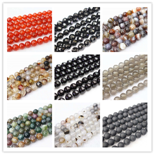 Wholesale Natural Agates Loose Beads,4-12mm Red Agates Black Agates Botswana Round Beads.DIY Jewelry Making(China)