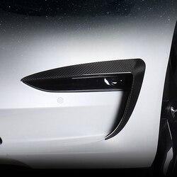 2 шт., автомобильная противотуманная фара, рамка для бровей, воздушный нож, спойлер, углеродная крышка, наклейка, Внешнее украшение для Tesla, мо...