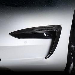2 uds, moldura para luz antiniebla de coche, alerón de cuchillo de aire para cejas, pegatina de cubierta de fibra de carbono, decoración Exterior para Tesla Model 3 accesorios