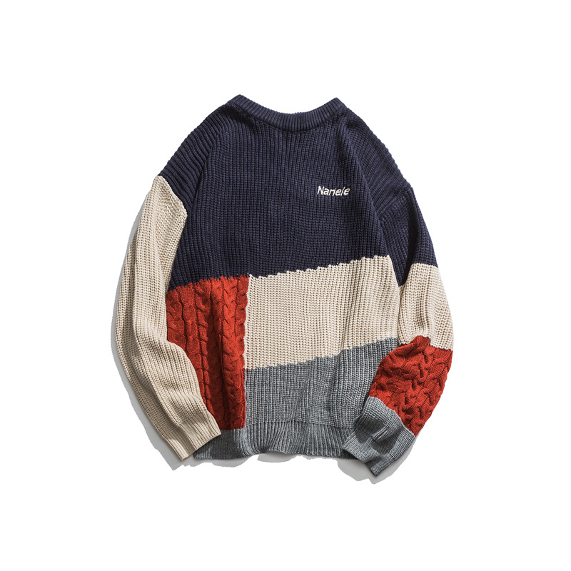 Japanese Harajuku Knit Color Block Sweater For Men And Women Unisex Urban Streetwear Hip Hop Pullover Color Block Jumper