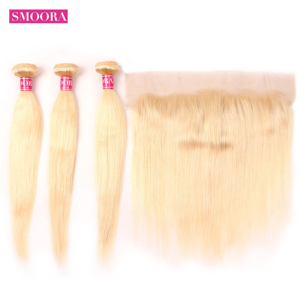 613 Blonde Bundles with Frontal Straight Human Hair Bundles Blonde Brazilian Hair Weave Bundle with Closure 13 4 Non Remy Smoora in 3 4 Bundles with Closure from Hair Extensions Wigs