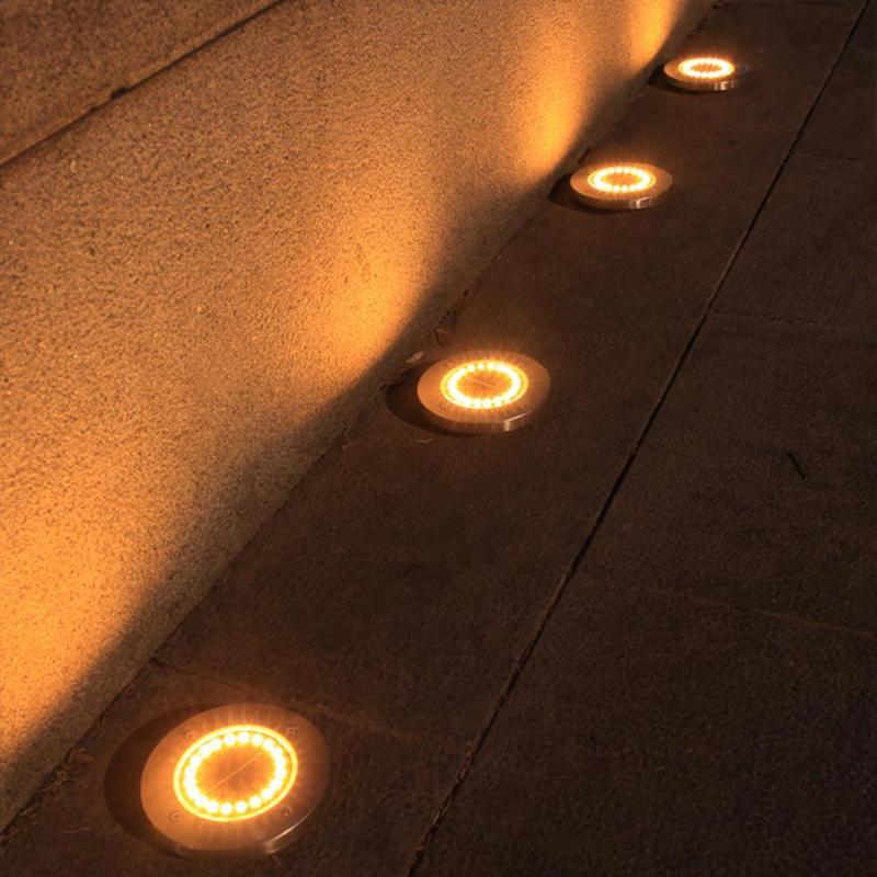 1-4pcs 20LED Solar Buried Lamp Spike Waterproof Outdoor Garden Ground Warm Light