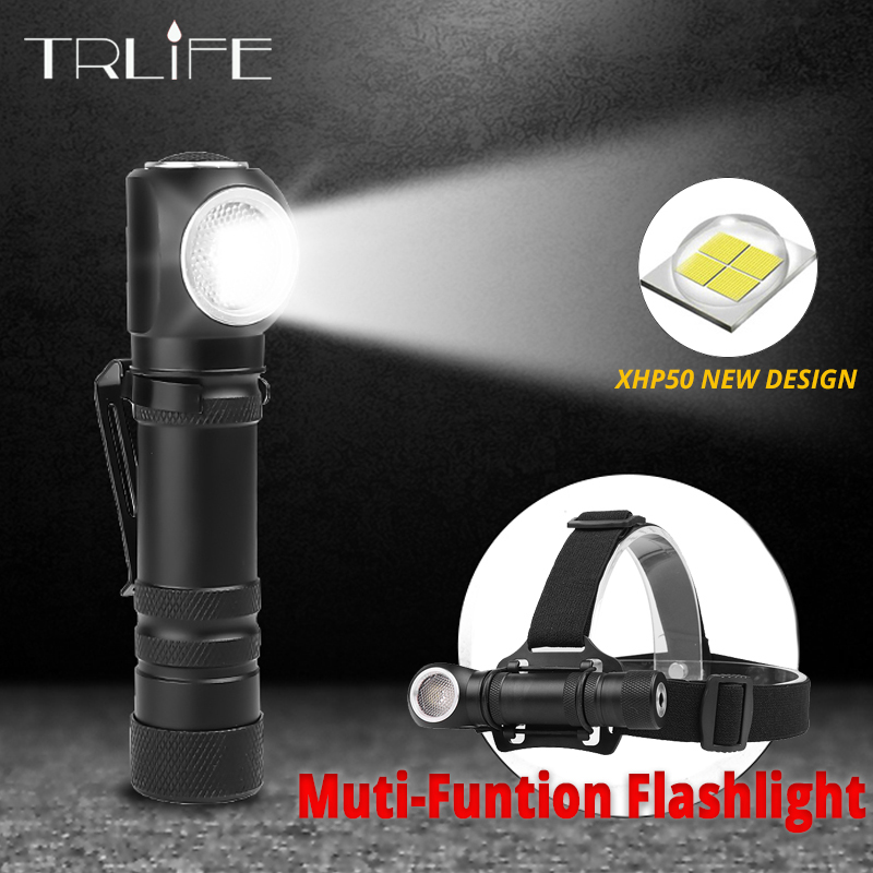 3 In 1 Muti-Function Work Lamp Magnet USB Flashlight Bike Light Built-in 18650 3 Modes XHP50 LED Also As A Head Lamp 1800mAH