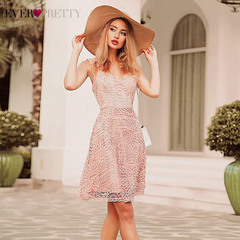 Pink Lace Bridesmaid Dresses Ever Pretty A-Line V-Neck Spaghetti Straps Hollow Out Short Floral Wedding Guest Dresses Sukienki