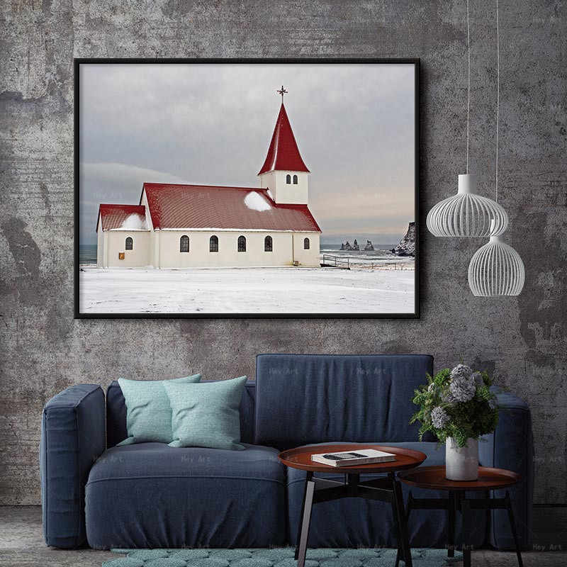 Nordic Scandinavian Canvas Painting HD Landscape Picture Prints Red Wihite House Church Home Decor Wall Art for Living Room