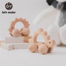 Juguete de madera de forma de coche de haya para mordedera bebés niños juego mental juguetes Artesanías hechas a mano regalo de Navidad cognitiva juguetes infantiles
