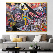 Monkeys and Kinds of Animals Canvas Painting Graffiti Art Poster and Prints on The Wall Art Pictures for Living Room No Frame