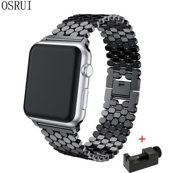 OSRUI Stainless Steel strap For Apple Watch 4 Band 44mm 40mm iwatch 3 2 1 42mm/38mm link Bracelet wrist watchband belt