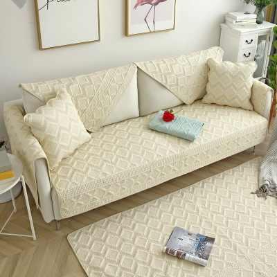 Pamuk kanepe yastığı, kaymaz dört mevsim evrensel pamuklu kanepe havlu, basit kanepe kılıfı yastık